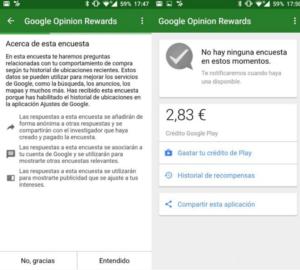 Google Opinion app rewards