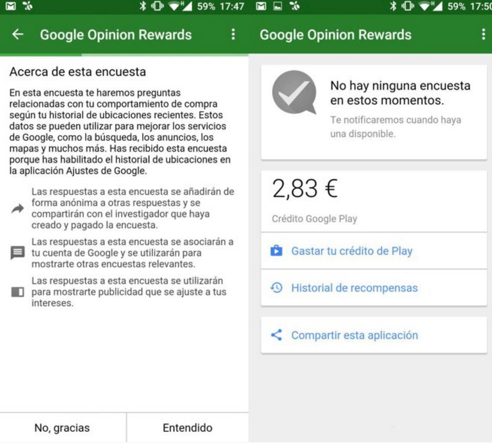 Google Opinion app rewards